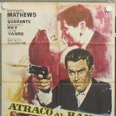 Cine: NU09 ATRACO AL HAMPA KERWIN MATHEWS POSTER ORIGINAL 70X100 ESTRENO. Lote 25707338