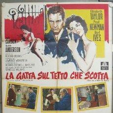 Cine: NW66 LA GATA SOBRE EL TEJADO DE ZINC ELIZABETH TAYLOR PAUL NEWMAN POSTER ORIGINAL ITALIANO 100X140. Lote 25928102