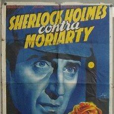 Cine: OM05D SHERLOCK HOLMES CONTRA MORIARTY RATHBONE SOLIGO POSTER ORIGINAL ESTRENO 70X100 LITOGRAFIA. Lote 25966534