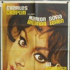 Cine: NY69 LA CONDESA DE HONG KONG SOFIA LOREN CHARLES CHAPLIN BRANDO AL POSTER ORIGINAL 70X100 ESTRENO. Lote 26382875