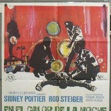 Cine: NY96 EN EL CALOR DE LA NOCHE ROD STEIGER SIDNEY POITIER POSTER ORIGINAL 70X100 ESTRENO. Lote 26391387