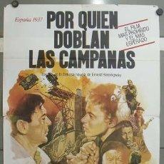 Cine: OD51 POR QUIEN DOBLAN LAS CAMPANAS GARY COOPER GUERRA CIVIL POSTER 70X100 ORIGINAL ESTRENO. Lote 26719856