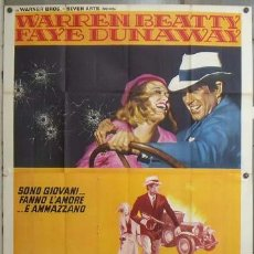 Cine: TJ05D BONNIE Y CLYDE WARREN BEATTY FAYE DUNAWAY POSTER ORIGINAL 140X200 ITALIANO. Lote 27043458