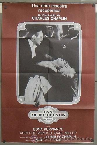 OD47 UNA MUJER DE PARIS CHARLES CHAPLIN EDNA PURVIANCE POSTER ORIGINAL ESPAÑOL 60X90 (Cine - Posters y Carteles - Comedia)