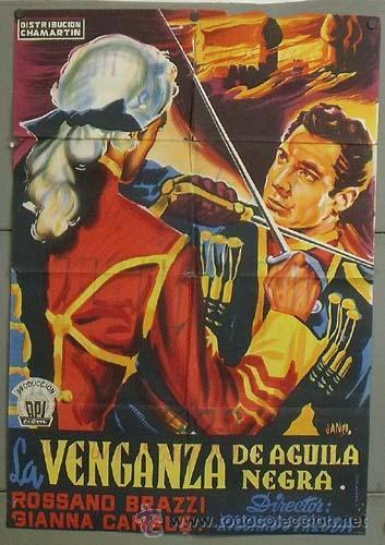 OD67 LA VENGANZA DEL AGUILA NEGRA ROSSANO BRAZZI POSTER ORIGINAL ESPAÑOL 70X100 ESTRENO LITOGRAFIA (Cine - Posters y Carteles - Acción)