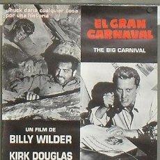 Cine: E540 EL GRAN CARNAVAL KIRK DOUGLAS BILLY WILDER POSTER ORIGINAL ESPAÑOL 50X70. Lote 27152812