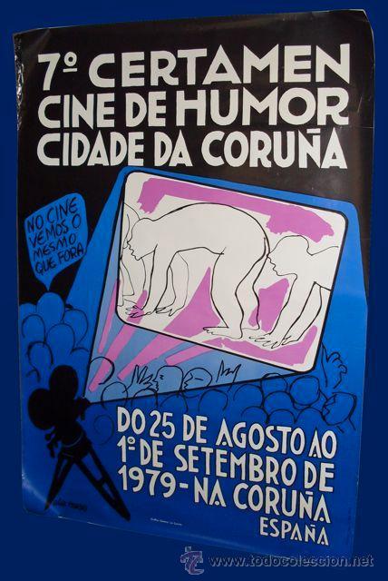 7º CERTAMEN CINE DE HUMOR CIDADE DA CORUÑA - CARTEL - 67X97CM - 1979 (Cine - Posters y Carteles - Comedia)