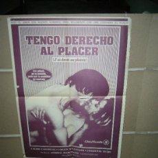 Cine: TENGO DERECHO AL PLACER POSTER ORIGINAL 60X50. Lote 27318660