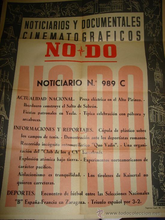 CARTEL DEL NOTICIARIO Y DOCUMENTAL CINEMATOGRAFICO NODO. NUMERO 989 C (Cine - Posters y Carteles - Documentales)