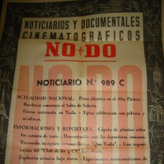 Cine: CARTEL DEL NOTICIARIO Y DOCUMENTAL CINEMATOGRAFICO NODO. NUMERO 989 C. Lote 27886856