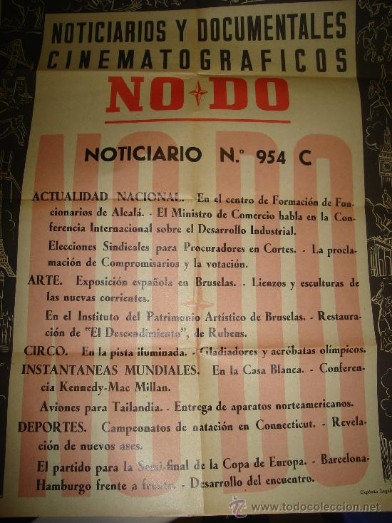 CARTEL DEL NOTICIARIO Y DOCUMENTAL CINEMATOGRAFICO NODO. NUMERO 954 C (Cine - Posters y Carteles - Documentales)