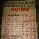 Cine: CARTEL DEL NOTICIARIO Y DOCUMENTAL CINEMATOGRAFICO NODO. NUMERO 954 C. Lote 27886870