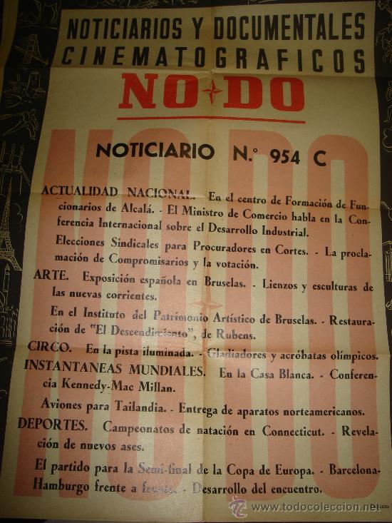 CARTEL DEL NOTICIARIO Y DOCUMENTAL CINEMATOGRAFICO NODO. NUMERO 954 C (Cine - Posters y Carteles - Documentales)