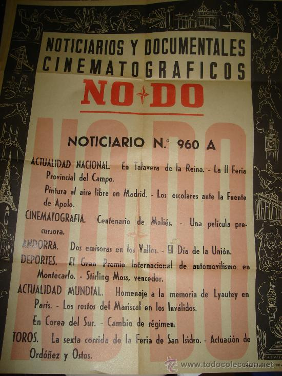 CARTEL DEL NOTICIARIO Y DOCUMENTAL CINEMATOGRAFICO NODO. NUMERO 960 A (Cine - Posters y Carteles - Documentales)