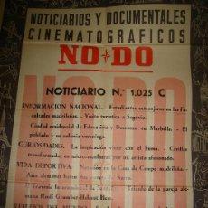 Cine: CARTEL DEL NOTICIARIO Y DOCUMENTAL CINEMATOGRAFICO NODO. NUMERO 1025 C. Lote 27886907