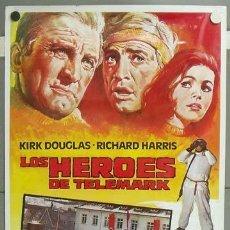 Cine: E1068 LOS HEROES DE TELEMARK KIRK DOUGLAS RICHARD HARRIS POSTER ORIGINAL 70X100. Lote 27902423