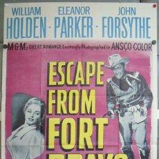 Cine: OH63 FORT BRAVO WILLIAM HOLDEN ELEANOR PARKER POSTER ORIGINAL 3 HOJAS AMERICANO 105X210. Lote 28516359