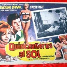 Cine: JOVENES AL SOL 1962 (LOBBY CARD ORIGINAL) GIANNI GARKO CATHERINE SPAAK LISA GASTONI. Lote 28626468