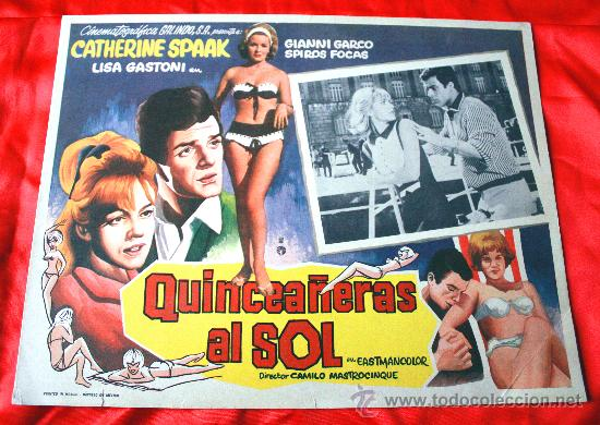 JOVENES AL SOL 1962 (LOBBY CARD ORIGINAL) GIANNI GARKO CATHERINE SPAAK LISA GASTONI (Cine - Posters y Carteles - Comedia)