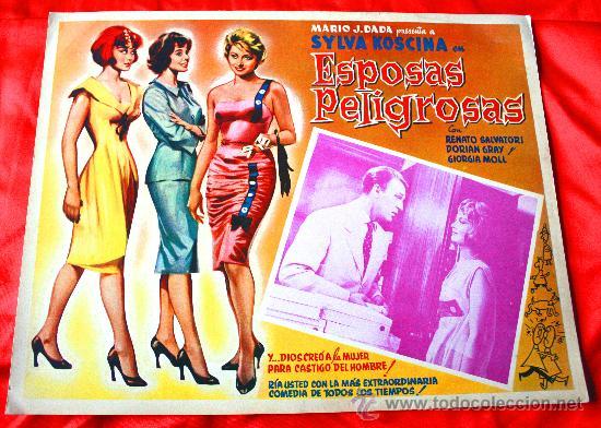MUJERES PELIGROSAS 1958 (LOBBY CARD ORIGINAL) SYLVA KOSCINA DORIAN GRAY RENATO SALVATORI (Cine - Posters y Carteles - Comedia)