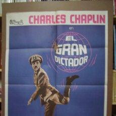 Cine: EL GRAN DICTADOR, CON CHARLES CHAPLIN. POSTER.. Lote 28659065