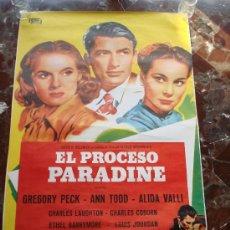 Cine: EL PROCESO PARADINE CARTEL CINE ORIGINAL PELICULA GREGORY PECK ANN TODD. Lote 28980151