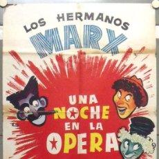 Cine: OO04 UNA NOCHE EN LA OPERA HERMANOS MARX POSTER ORIGINAL 70X100 ESPAÑOL R-60S. Lote 29321286