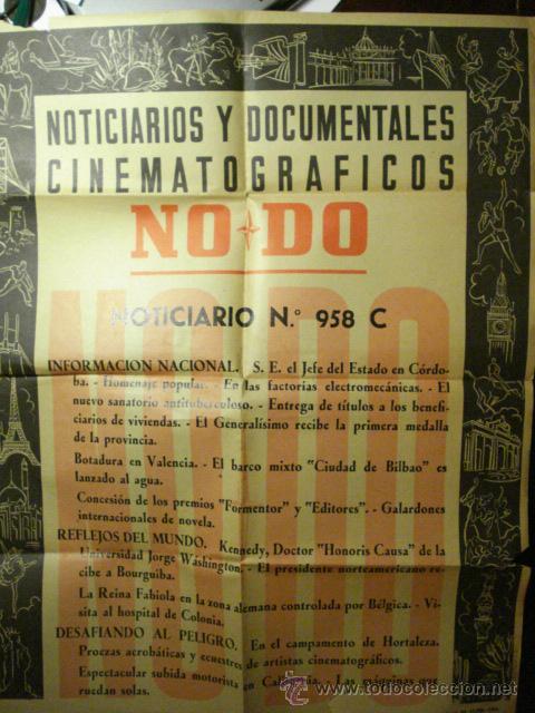 167 CARTEL DEL NODO AÑO 1958 - VALENCIA - KENNEDY - HORTALEZA MADRID ETC (Cine - Posters y Carteles - Documentales)