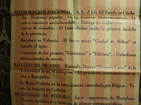 Cine: 167 CARTEL DEL NODO AÑO 1958 - VALENCIA - KENNEDY - HORTALEZA MADRID ETC - Foto 2 - 29518802