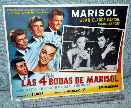 MARISOL - LAS 4 BODAS DE MARISOL - AFICHE CARTELERA CINE - LOBBY CARD - GRAN TAMAÑO 380 X 287 MM (Cine - Posters y Carteles - Musicales)