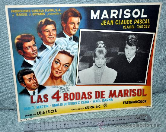 MARISOL - LAS 4 BODAS DE MARISOL - AFICHE CARTELERA CINE - LOBBY CARD - GRAN TAMAÑO 380 X 287 MM. (Cine - Posters y Carteles - Musicales)
