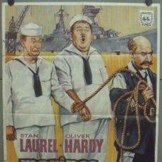 Cine: OQ59 MARINOS A LA FUERZA STAN LAUREL OLIVER HARDY HAL ROACH POSTER ORIGINAL 70X100 ESPAÑOL R-65. Lote 29888389