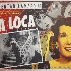 Cine: CARTEL ORIGINAL MEXICANO LIBERTAD LAMARQUE LA LOCA ALMA DELIA FUENTES RUBÉN ROJOMIGUEL ZACARÍAZ 1952. Lote 30260100