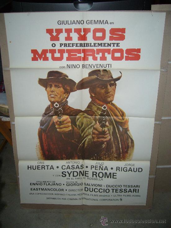 VIVOS O PREFERIBLEMENTE MUERTOS GIULIANO GEMMA SPAGHETTI POSTER ORIGINAL 70X100 YY (Cine - Posters y Carteles - Westerns)