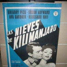 Cine: LAS NIEVES DE KILIMANJARO AVA GARDNER GREGORY PECK HAYWARD POSTER POSTER ORIGINAL 70X100. Lote 30630705