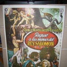 Cine: REGRESO A LAS MINAS DEL REY SALOMON GEORGE MONTGOMERY TAINA ELG POSTER ORIGINAL 70X100 . Lote 30944969