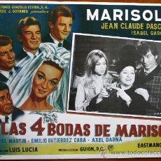 Cine: CARTEL LAS CUATRO BODAS DE MARISOL, REPRODUCIÓN DE CARTEL. AÑO 1967.. Lote 31087818