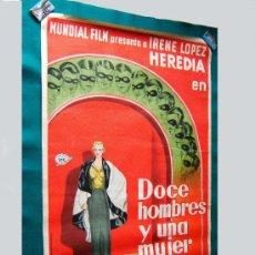 Cine: DOCE HOMBRES Y UNA MUJER-FERNANDO DELGADO-IRENE LOPEZ HEREDIA-POSTER ORIGINAL 100X70CM-1934-ESTRENO.. Lote 57434475