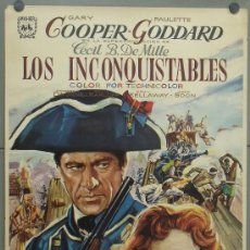Cine: OY88 LOS INCONQUISTABLES GARY COOPER DEMILLE PAULETTE GODDARD POSTER ORIGINAL 70X100 ESPAÑOL. Lote 31579302