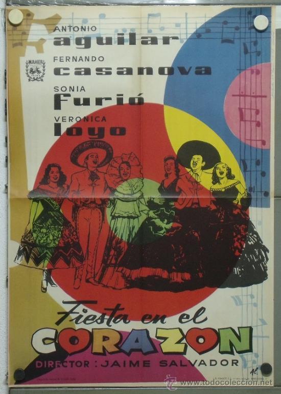 PA28 FIESTA EN EL CORAZON ANTONIO AGUILAR FERNANDO CASANOVA POSTER ORIGINAL 70X100 ESTRENO (Cine - Posters y Carteles - Musicales)