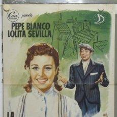 Cine: PA29 LA CHICA DEL BARRIO LOLITA SEVILLA PEPE BLANCO POSTER ORIGINAL 70X100 ESTRENO. Lote 31758346