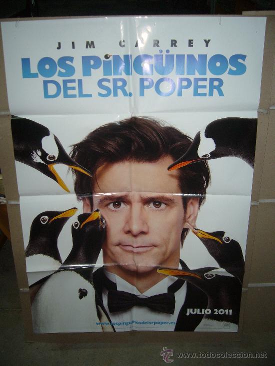 LOS PINGÜINOS DEL SR. POPER JIM CARREY POSTER ORIGINAL 70X100 (Cine - Posters y Carteles - Comedia)