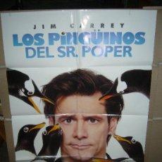 Cine: LOS PINGÜINOS DEL SR. POPER JIM CARREY POSTER ORIGINAL 70X100. Lote 167117502
