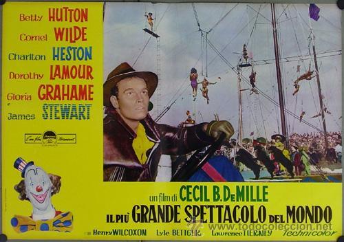 DW74D EL MAYOR ESPECTACULO DEL MUNDO CHARLTON HESTON CIRCO SET DE 12 POSTERS ORIGINAL ITALIANO 47X68 (Cine - Posters y Carteles - Acción)