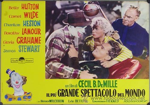 Cine: DW74D EL MAYOR ESPECTACULO DEL MUNDO CHARLTON HESTON CIRCO SET DE 12 POSTERS ORIGINAL ITALIANO 47X68 - Foto 12 - 32082845