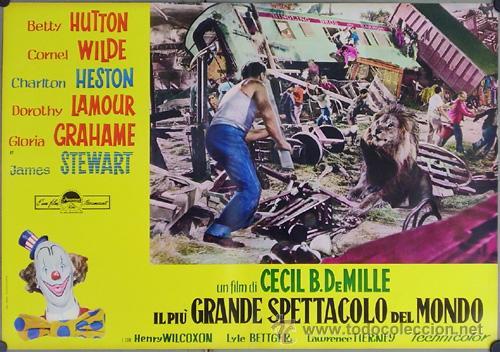 Cine: DW74D EL MAYOR ESPECTACULO DEL MUNDO CHARLTON HESTON CIRCO SET DE 12 POSTERS ORIGINAL ITALIANO 47X68 - Foto 10 - 32082845