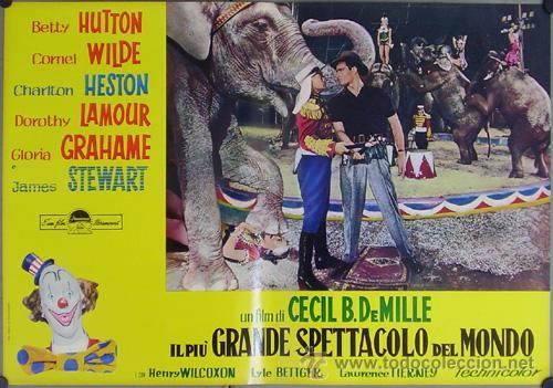 Cine: DW74D EL MAYOR ESPECTACULO DEL MUNDO CHARLTON HESTON CIRCO SET DE 12 POSTERS ORIGINAL ITALIANO 47X68 - Foto 11 - 32082845