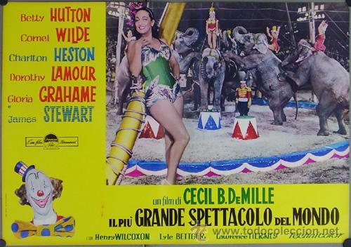 Cine: DW74D EL MAYOR ESPECTACULO DEL MUNDO CHARLTON HESTON CIRCO SET DE 12 POSTERS ORIGINAL ITALIANO 47X68 - Foto 9 - 32082845