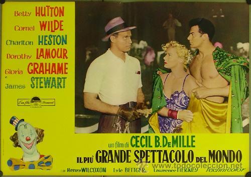 Cine: DW74D EL MAYOR ESPECTACULO DEL MUNDO CHARLTON HESTON CIRCO SET DE 12 POSTERS ORIGINAL ITALIANO 47X68 - Foto 8 - 32082845