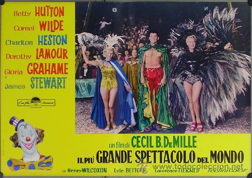 Cine: DW74D EL MAYOR ESPECTACULO DEL MUNDO CHARLTON HESTON CIRCO SET DE 12 POSTERS ORIGINAL ITALIANO 47X68 - Foto 7 - 32082845
